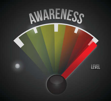 concept: awareness level measure meter from low to high, concept illustration design Illustration