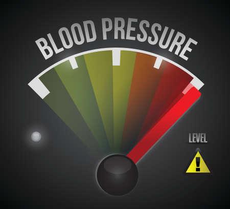 높은 개념 그림 디자인에 낮은에서 혈압 수준 측정 미터 일러스트