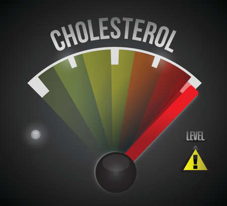 cholesterol level measure meter from low to high, concept illustration design