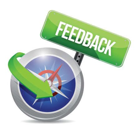 feedback: compass guide to feedback. illustration design over white