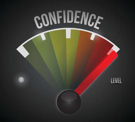 self confident: confidence level measure meter from low to high, concept illustration design