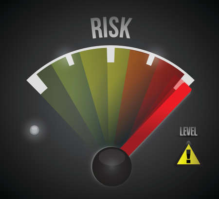 financial risk: risk level measure meter from low to high, concept illustration design