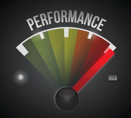 Medidor de nivel de rendimiento de bajo a alto, diseño de ilustración conceptual Ilustración de vector