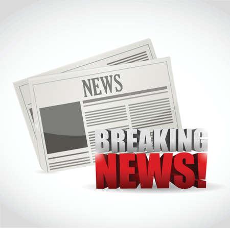 news flash: breaking news newspaper illustration design over white