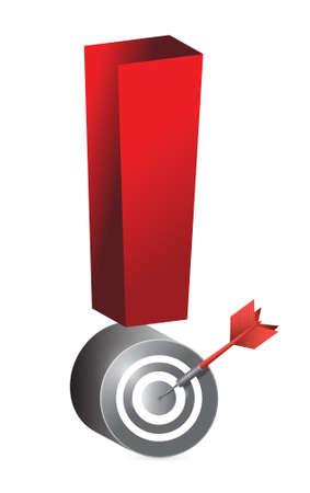 exclamation mark: diana de dardos de exclamación ilustración, diseño en blanco