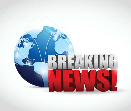 newsflash: global breaking news illustration design over a white background Illustration