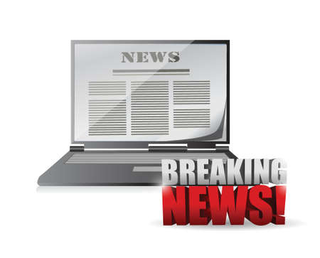 newscast: laptop breaking news illustration design over a white background