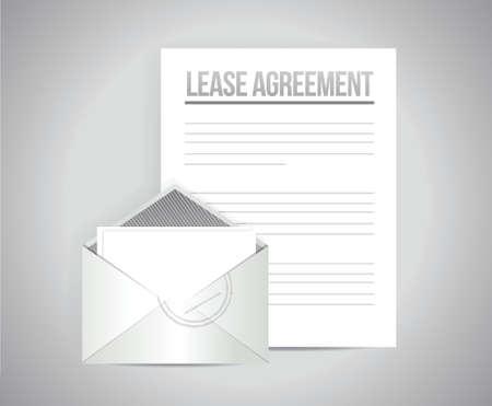 huurovereenkomst document papier illustratie ontwerp op wit Stock Illustratie