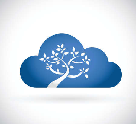 cloud tree illustration design over a white background