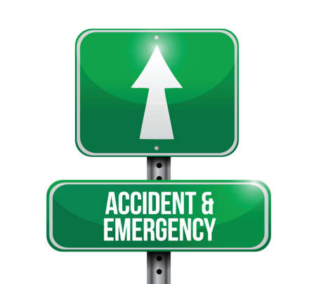 accident and emergency road sign illustration design over white