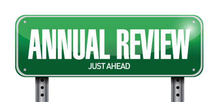 yearly: annual review road sign illustration design over white