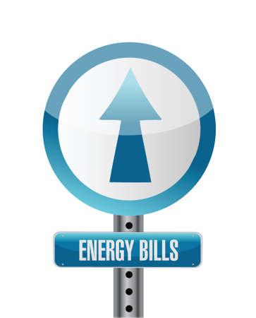 energy bills road sign illustration design over white Vector