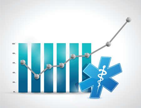 medical. medicine business graph illustration design over white Vector