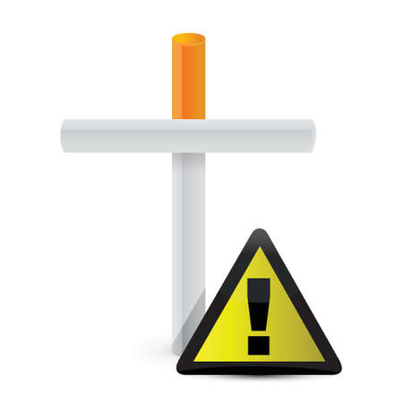 cigarette cross and yellow sign. illustration design over white