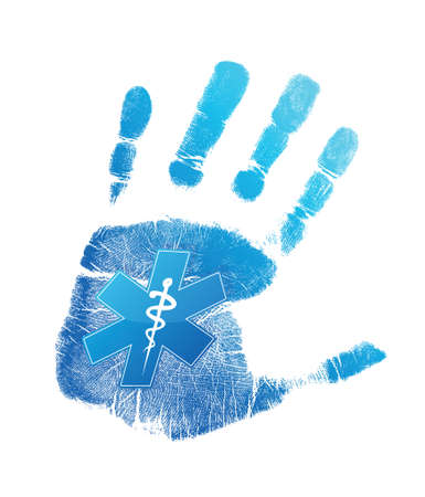 palm reading: handprint medical symbol illustration design over a white background