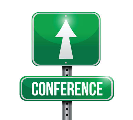 discussion forum: conference road sign illustrations design over a white background