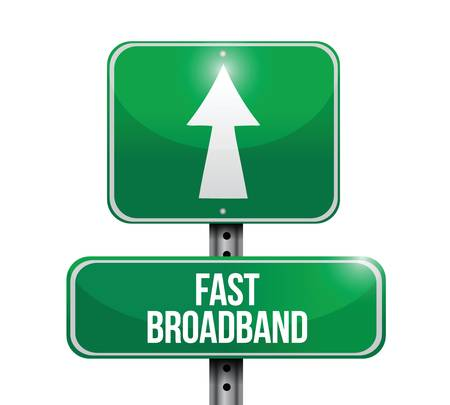 screenshot: fast broadband road sign illustrations design over a white background