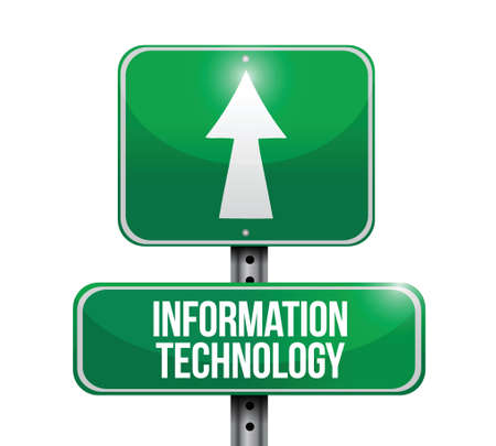 information technology road sign illustrations design over a white background Vector
