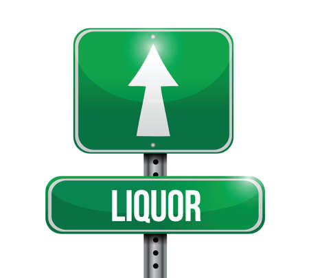 liquor road sign illustrations design over a white background