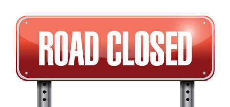 road closed road sign illustrations design over a white background