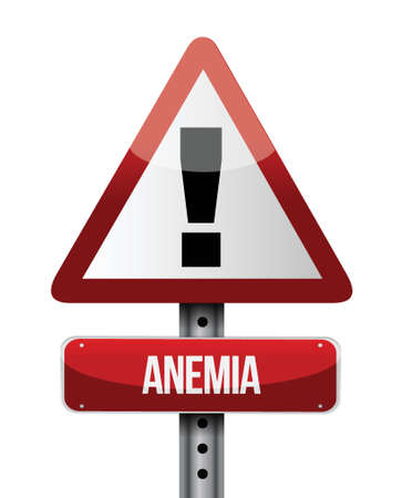 deficiency: anemia road sign illustration design over white