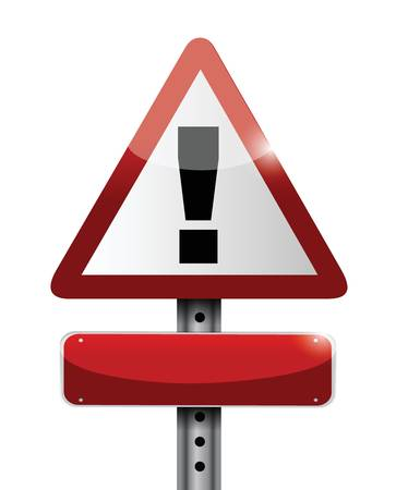 hazard sign: blank warning road sign illustration design over white