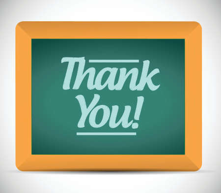 thank you message written on a chalkboard illustration design graphic Vector