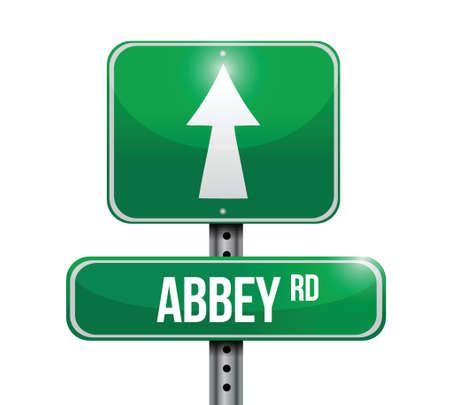 abbey road road sign illustration design over white
