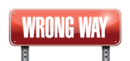 wrong way road sign illustration design over white Vector