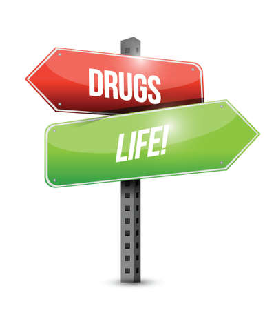 drugs versus life road sign illustration design over white Stock Vector - 22860237