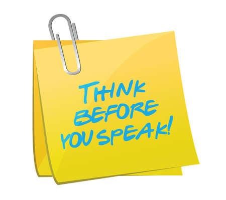 think before you speak post illustration design over white Ilustração