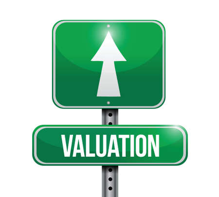 estimate: valuation road sign illustration design over a white background