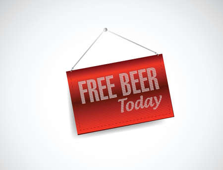 free beer today fabric textured hanging banner illustration design over white Stock Vector - 23057629