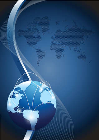 cover: business globe network over a wave illustration design blue background Illustration