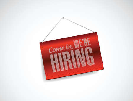 hiring: come in we are hiring hanging banner illustration design over white Illustration