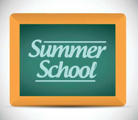 summer school message on a chalkboard illustration design background