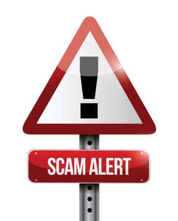 warning scam alert road sign illustration design over white