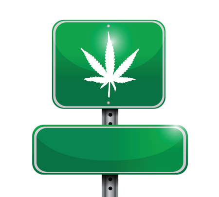 cannabis leaf: marijuana road sign illustration design over white Illustration