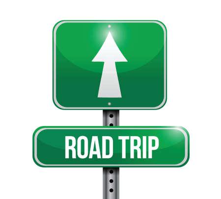 roadtrip: road trip road sign illustration design over white