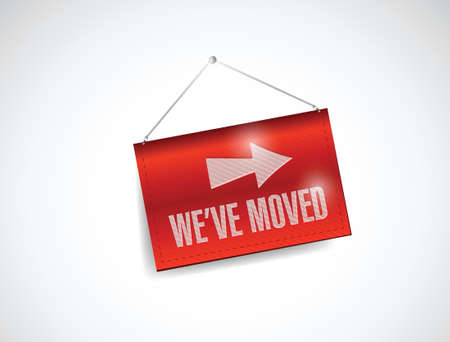 we have moved: we have moved banner illustration design over a white background