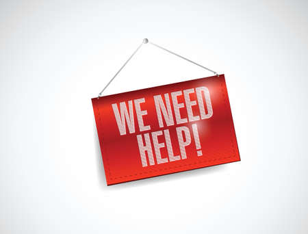 need help: we need help banner illustration design over a white background