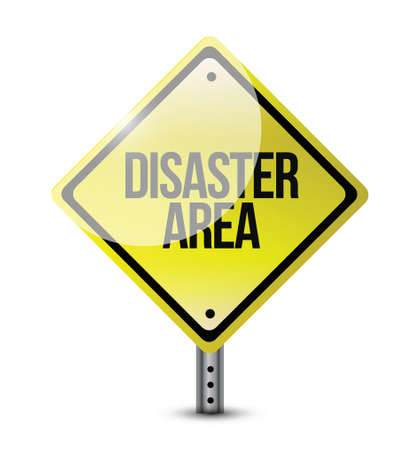 disaster area road sign illustration design over white Vector