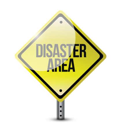 disaster prevention: disaster area road sign illustration design over white Illustration