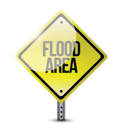 flood area: flood area road sign illustration design over white Illustration