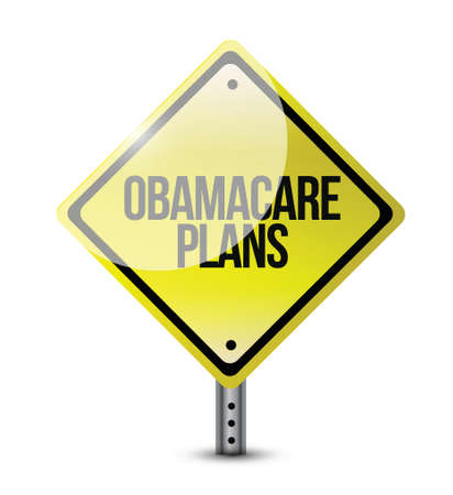 obamacare plans road sign illustration design over white Vectores