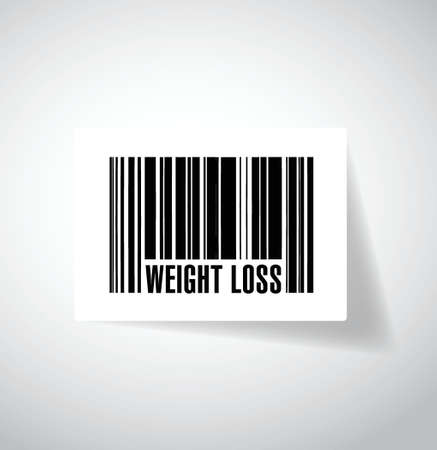 over weight: weight loss products barcode concept illustration design over a grey background Illustration