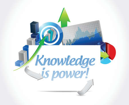 business knowledge is power concept illustration design over white