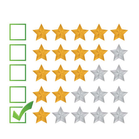 satisfactory: poor review rating illustration design over a white background Illustration