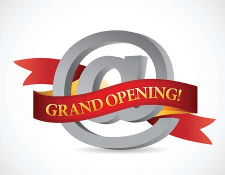 website grand opening banner illustration design over white Stock Vector - 23057745
