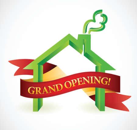 Haus oder Geschäft Eröffnung Banner Illustration Design Standard-Bild - 23057747